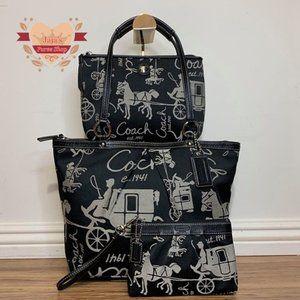 🐎Coach Fabric Bag W/ Matching Pouch & Wristlet🐎